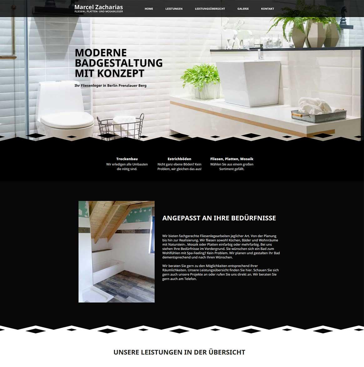 Webdesign Grafik der Webseite Fliesenleger Marcel Zacharias